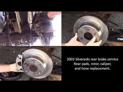 2003 Chevy Silverado - rear brake pad. rotor. caliper. and hose replacement.