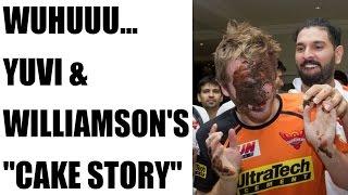IPL 10: Yuvraj Singh smears cake on Kane Williamson, Deepak Hooda | Oneindia News