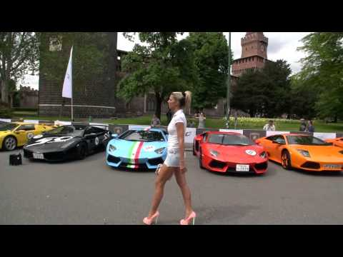 350 Lamborghini And Tamia In High Heels  Grande Giro Milano 8.5.2013 video