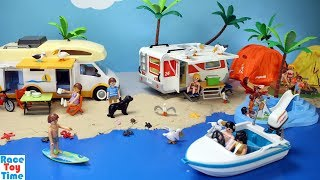 Playmobil Summer Fun Camper Playset - Camping at the Beach with Sea Animals Fun Toys For Kids