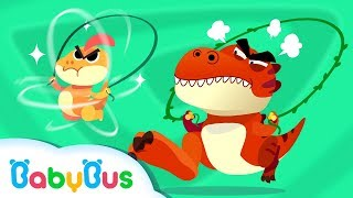 T-Rex Loves Jumping Rope | Dinosaur Jump Role Competition | Kids Song | BabyBus