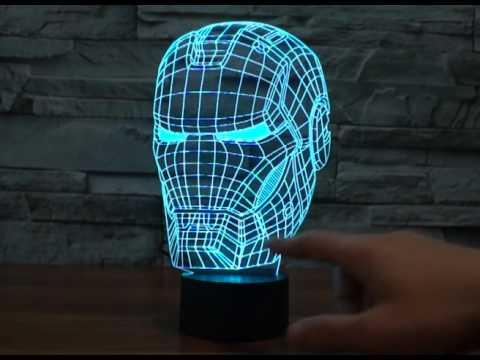 Iron man 3d  LED bulbing magical night lamp