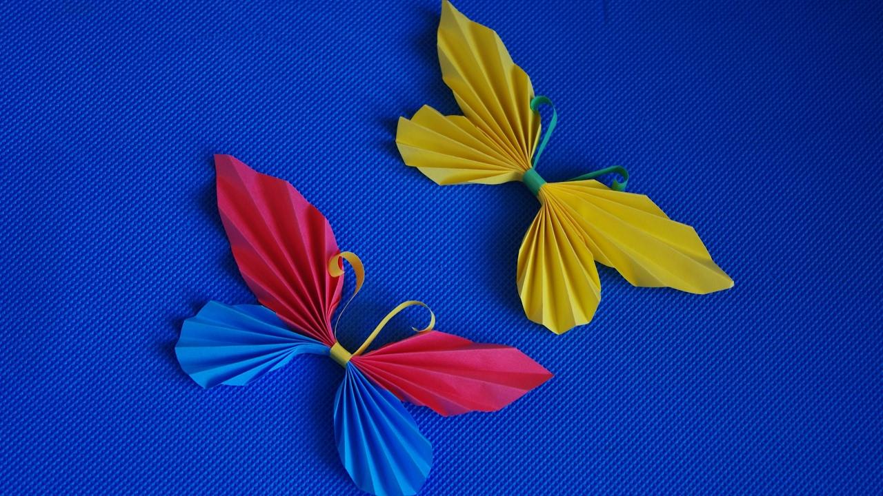 Гофрированные бабочки из бумаги на стену своими руками 4