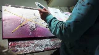 Abstract acrylic painting Demo HD Video - Damage by John Beckley