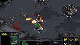 Starcraft skirmish, 4p AI FFA, Terran, turtle strategy on Blood Bath