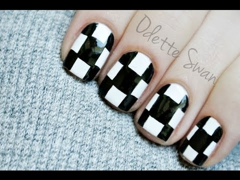 Chequer manicure  Nail art tutorial