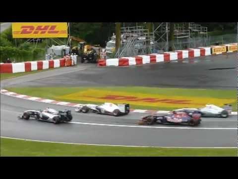 GP Canada 2011 Montreal F1  - Lewis Hamilton, Heidfeld, Rosberg crashes - Kobayashi drift