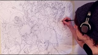 HUGE My Hero Academia Drawing   Every Class 1 - A Member - Anime Sketch