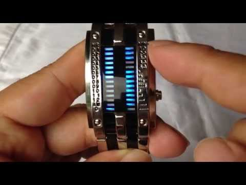 Youyoupifa alloy bracelet style LED watch with 28 blue LED lights for time & date display review