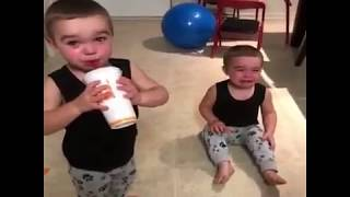Funny Twins Baby Drinking Juice  see their actions 2018
