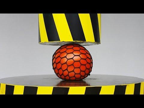 EXPERIMENT HYDRAULIC PRESS 100 TON vs SLIME ANTISTRESS BALL