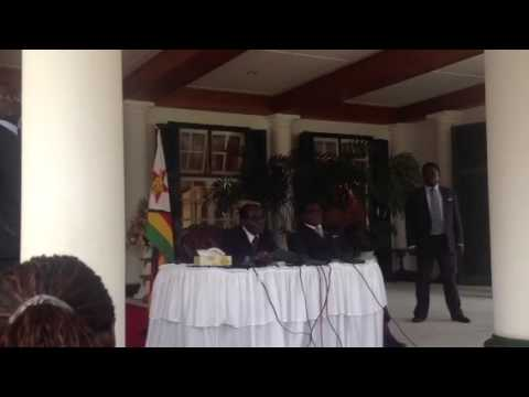President Mugabe with journalists