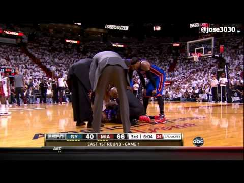 Iman Shumpert Knee ACL / Lateral Meniscus Injury - 2012 NBA Playoffs Game 1 (Knicks @ Heat)