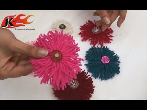 Diy How To Make Woolen Flower Jk Arts 022 Youtube
