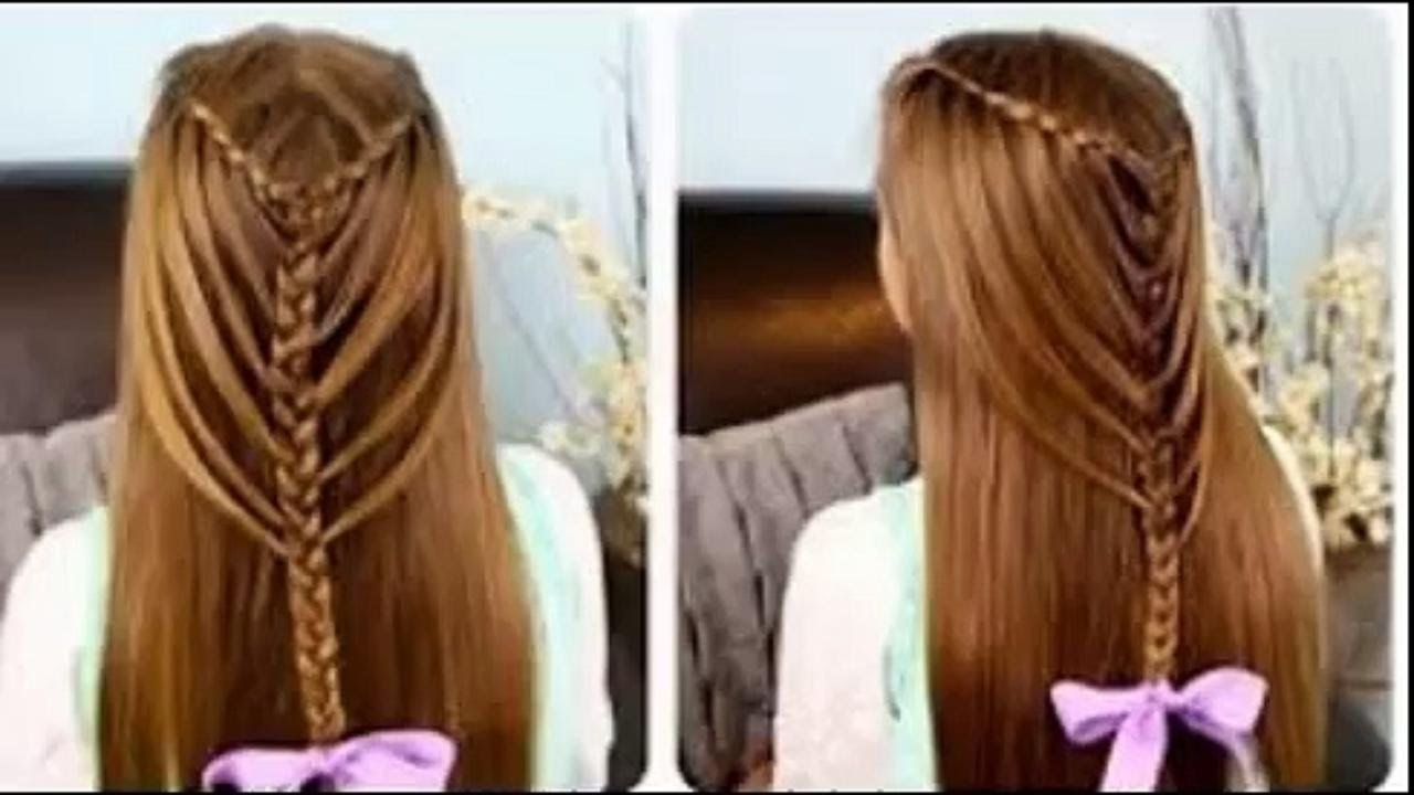 Beautiful feather, loop, ladder braid waterfall hairstyles for girls