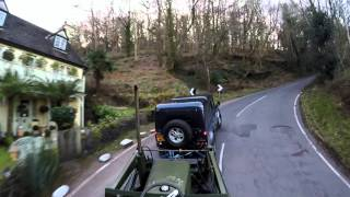 land rover defender 110 Towing Tractor up porlock hill