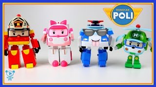 Robocar Poli toys unboxing Poli Amber Roy Helly - Trucks for children to watch - Robocar Poli Cars