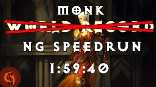 Diablo 3 Monk Any% NG Former World Record Speedrun 1:59:40