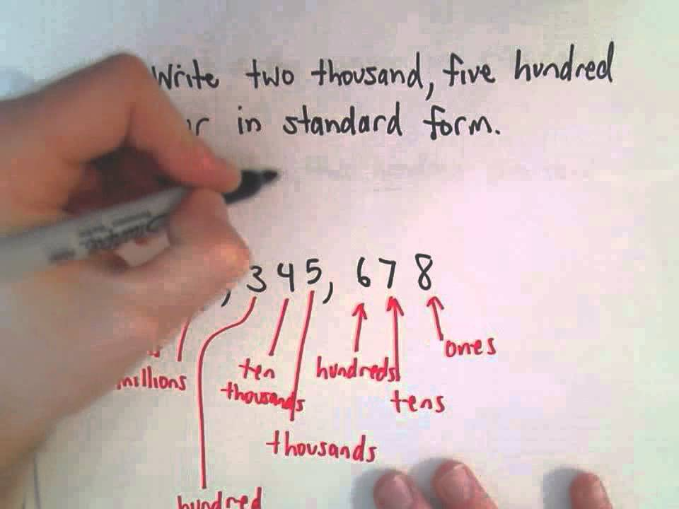 Writing Whole Numbers In Standard Form English To Number