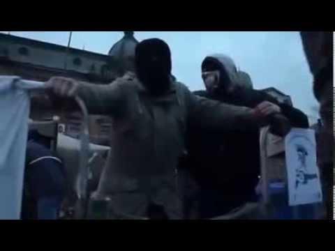 """Нацисты с """"правого сектора"""" бесчинствуют во Львове 20 03 2014"""