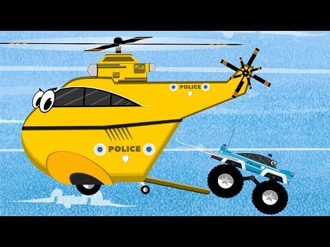 Police Cars & Helicopter vs Monster Trucks in the Police chase | Cars Garage | Videos for Kids