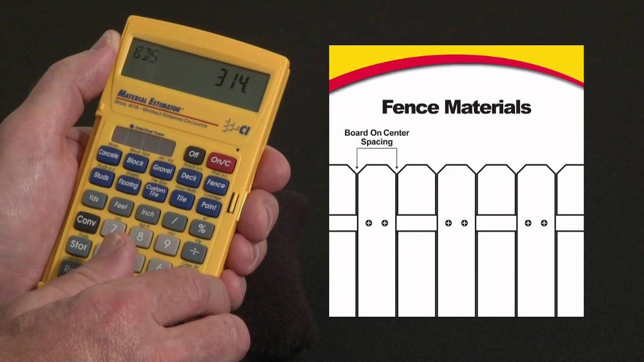 Material Estimator Fence