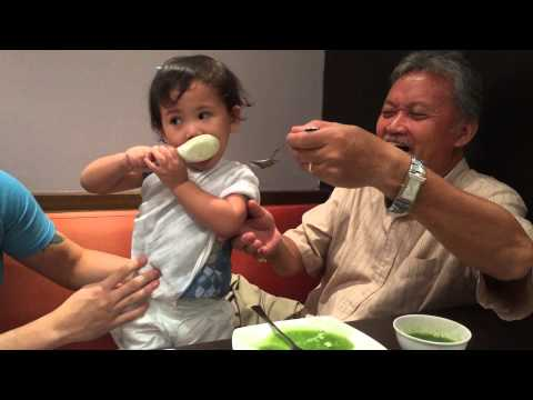 Sandrine loving the spinach soup with lolo @ wee nam kee atc - Sept 7, 2014