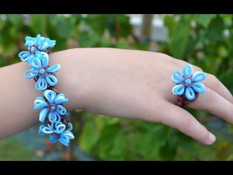 Как сделать браслет из резинок цветочки