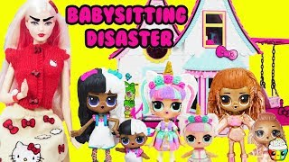 LOL Surprise BABYSITTING DISASTER Hello Kitty Barbie Mean Babysitter