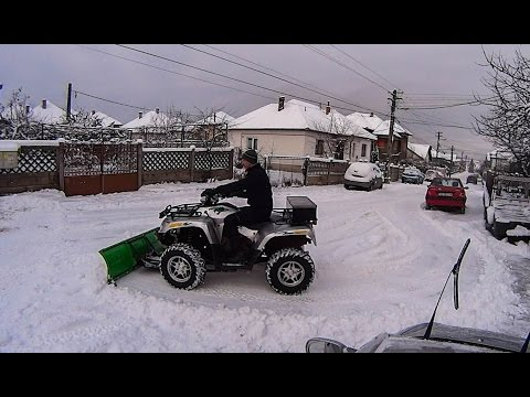 Snow Plowing with the Homemade ATV Snow Plow