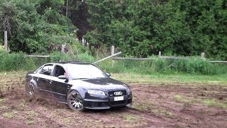 Amazing Sounding Audi RS4 Mud Drifting and Revving