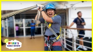 Ryan's Daddy fell off the surfboard and first time Zip Line!