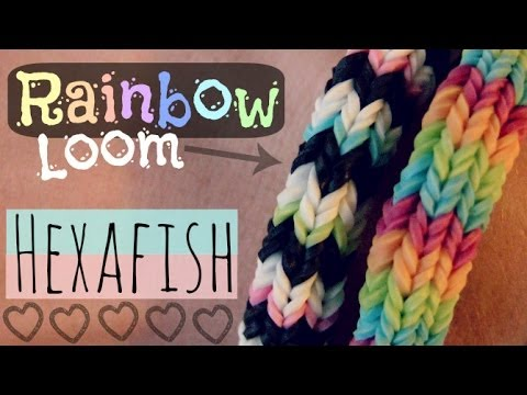 Rainbow Loom : HEXAFISH Bracelet - How To - 6-Pin Fishtail - Advanced