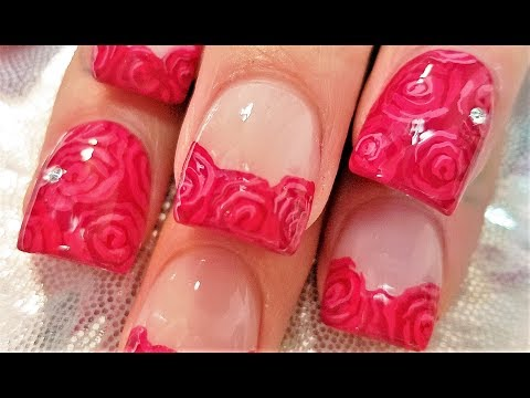 DIY Easy Red Rose Nails | Romantic Roses Nail Art Design Tutorial
