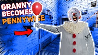 Granny Becomes POSSESSED BY PENNYWISE!!! (She is Pennywise) | Granny The Mobile Horror Game (Mods)