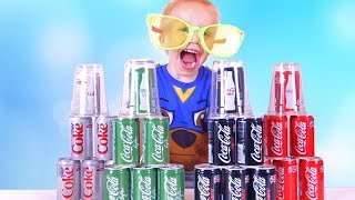 Learn Colors with Coca Cola / Johny Johny Yes Papa Song for Children Toddlers, Babies Nursery Rhymes