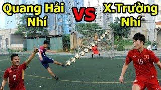 Thử thách bóng đá sút Vô Lê như Ronaldo : Quang Hải Nhí VS Lương Xuân Trường Nhí U23 Việt Nam