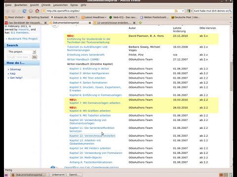 Verzeichnisse in OpenOffice Writer