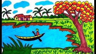 How to Drawing scenery of river | Learn Drawing for Kids, children's & beginners step by step