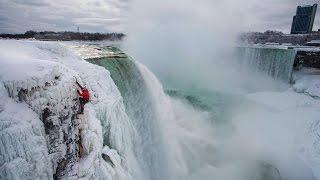 White Climbs Frozen Niagara Falls