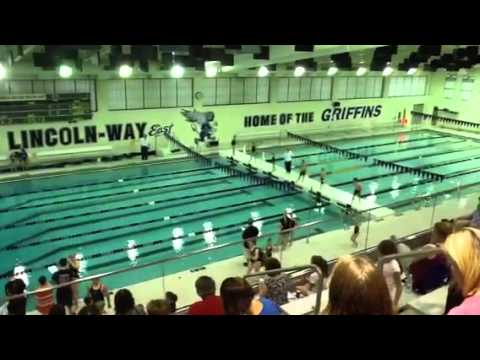Mia swimming at Lincoln Way East High School. June 2013