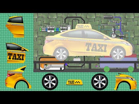 Машинки.Такси. Сборка машины. Развивающие мультики для маленьких. Cars for Kids. Taxi. Construction.