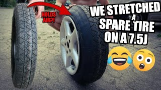 Tyre Stretch EXTREME! spare wheel tire on 7,5J | 115/90/16 | Test drive & drift