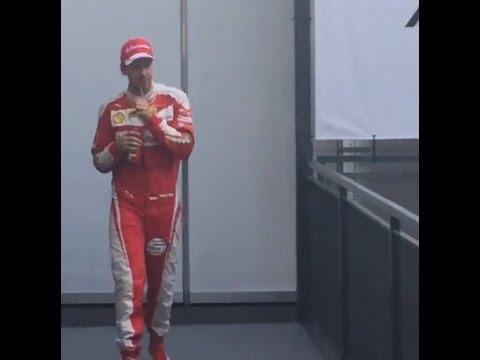F1 2016 Australian GP - Sebastian Vettel ahead of the podium ceremony