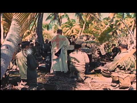 A Catholic Mass being conducted by a Chaplain in Makin Islands, Kirabati during W...HD Stock Footage