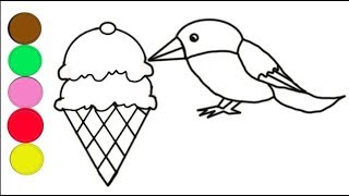 Ice Cream Bird Coloring and Drawing for kids, Toddlers Animation / New Toys Fun