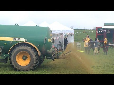 Farmers Drive Through Anti-Fracking Demonstration