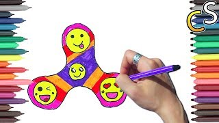 How to Draw and Color Fidget Spinner l Drawing Fidget Spinner Coloring pages l Coloring for children