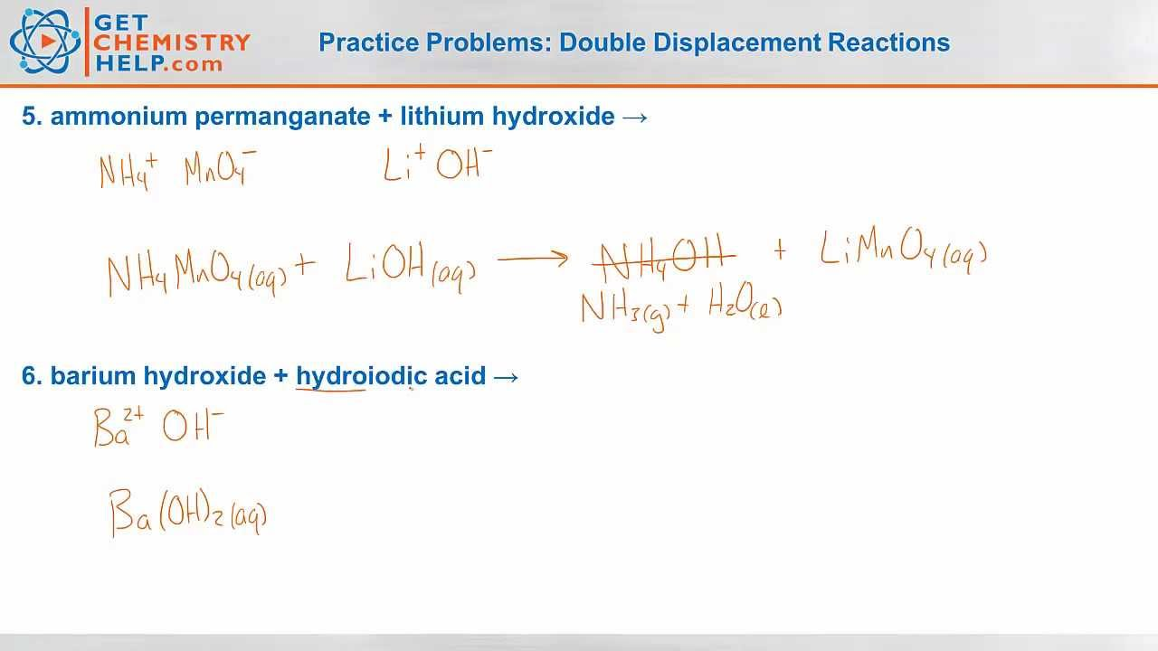 Chemistry Practice Problems: Double Displacement Reactions ...