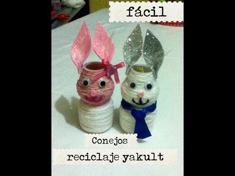 Reciclaje Pet botella Yakult conejos hilo fomy porta lápiz dulcero rabbit recyc